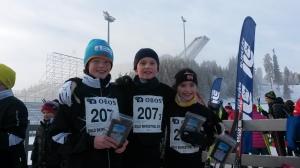 Oskar, Erik og Aud Irene etter gjennomført statfett.