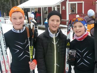 Gaute, Mads og Eirik fornøyd etter gjennomført renn.