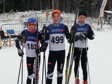Eirik, Gaute og Mads etter Hakadalsrennet søndag